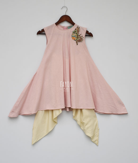 Girls Onion Pink Kurti With Patch On Shoulder & Dhoti