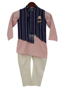 Boys Onion Pink Kurta Nehru Jacket Set