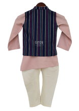 Load image into Gallery viewer, Boys Onion Pink Kurta Nehru Jacket Set