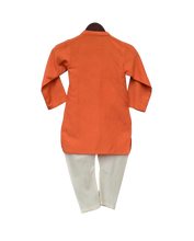 Load image into Gallery viewer, Boys Orange Hanuman Ji Printed Kurta With Churidar