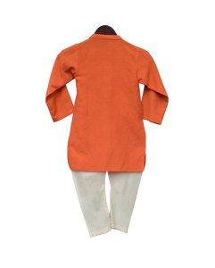 Boys Orange Hanuman Ji Printed Kurta With Churidar