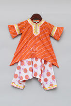 Load image into Gallery viewer, Girls Orange Lehariya Kurti With Dhoti