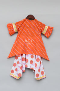 Girls Orange Lehariya Kurti With Dhoti