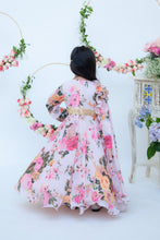 Load image into Gallery viewer, Girls Pastel Peach Floral Print Anarkali