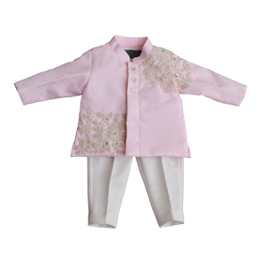 Boys Pastel Pink Embroidery Band Gala With Pant-1