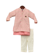 Load image into Gallery viewer, Boys Pastel Pink Embroidery Jacket With Kurta And Pant -1