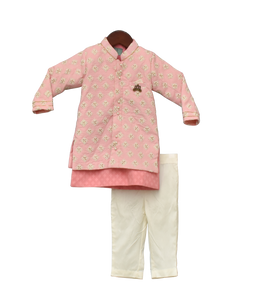Boys Pastel Pink Embroidery Jacket With Kurta And Pant -1