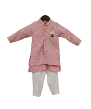 Load image into Gallery viewer, Boys Pastel Pink Embroidery Jacket With Kurta And Pant-2