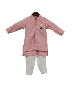 Boys Pastel Pink Embroidery Jacket With Kurta And Pant-2