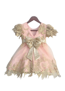Girls Pastel Pink Frock With Floral Patterened Golden Net