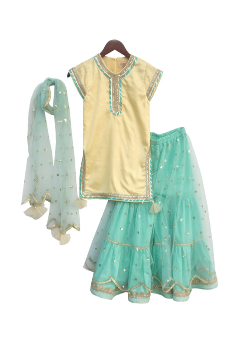 Girls Pastel Yellow And Aqua Blue Sharara With Sequin Net Dupatta