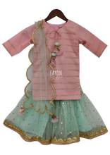 Load image into Gallery viewer, Girls Pastel Pink Blue Kurti Sharara