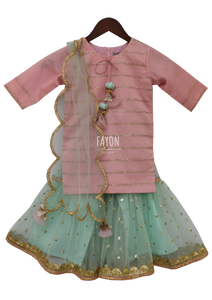 Girls Pastel Pink Blue Kurti Sharara