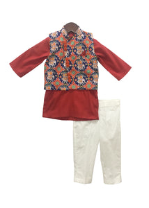 BOYS Patola Print Jacket With Red Kurta And Pant