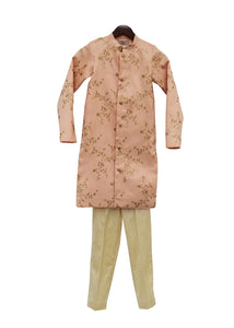 BOYS Peach Embroidery Ajkan With Beige Pant