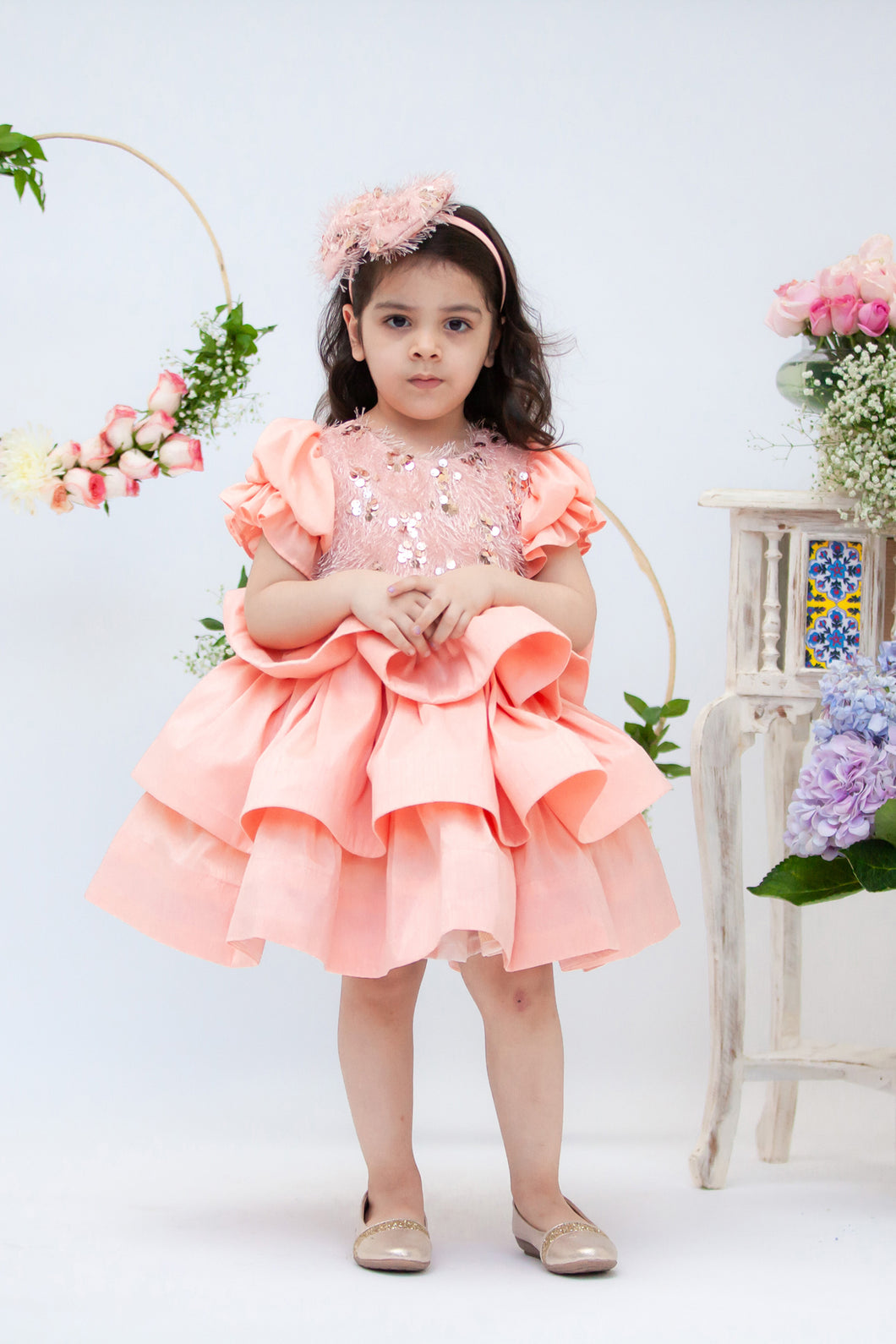 Girls Peach Sequence And Tassel Frock