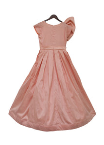 Girls Peach Taffeta Silk Gown
