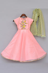 Girls Peach Anarkali Dress With Mint Green Dupatta