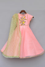 Load image into Gallery viewer, Girls Peach Anarkali Dress With Mint Green Dupatta