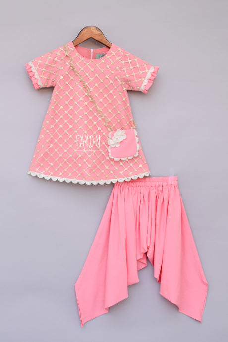 Girls Peach Bottie Net Kurti With Dhoti