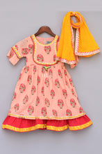 Load image into Gallery viewer, Girls Peach Flower Print Anarkali With Yellow Dupatta