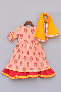 Girls Peach Flower Print Anarkali With Yellow Dupatta