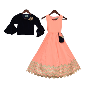 Girls Peach Gota Anarkali Dress With Dark Blue Jacket