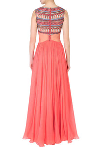Peach Gown With Dupatta