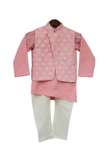Boys Peach Printed Kurta With Nehru Jacket & Churidar