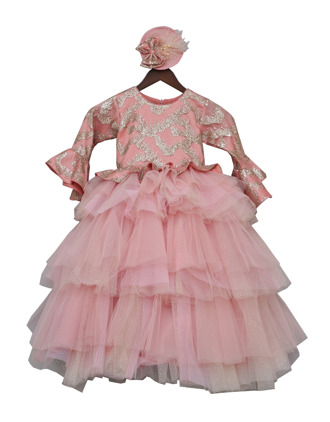 Girls Peach Shimmer Gown