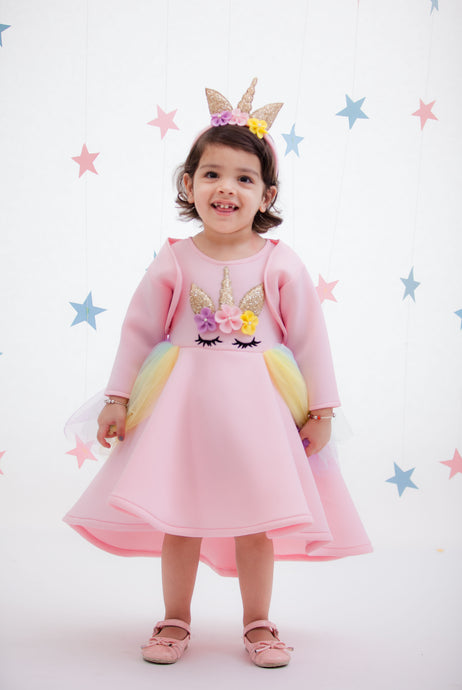 Girls Peach Unicorn Dress