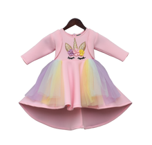 Load image into Gallery viewer, Girls Peach Unicorn Dress
