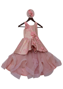 Girls Peachi Pink Flaier Gown