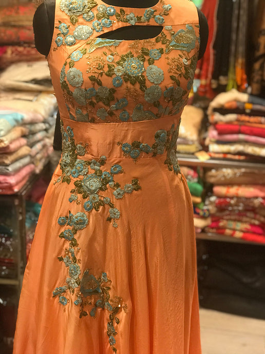 Peachish Orange Gown Bird Embroidery