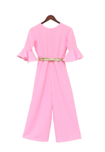Load image into Gallery viewer, Girls Pink Georgette Jumpsuit With Gold Sequence Belt