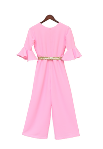 Girls Pink Georgette Jumpsuit With Gold Sequence Belt