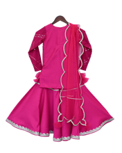 Load image into Gallery viewer, Girls Pink Mirror Work Kurti With Sharara