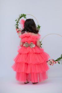 Girls Pink Shimmer Net Gown