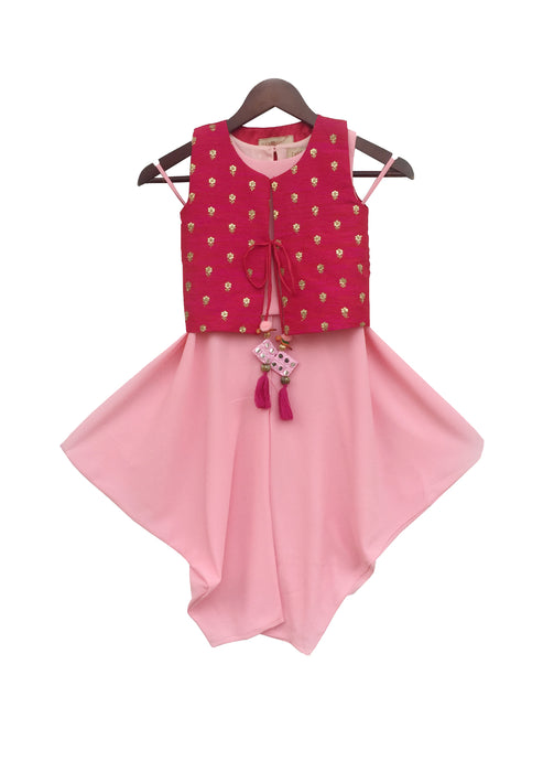 Girls Pink Top And Dhoti With Hot Pink Jacket