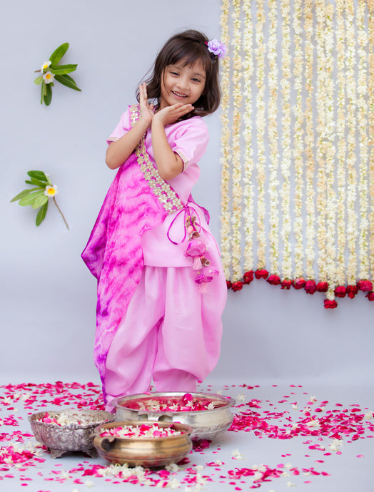 Girls Pink Croma Kurti With Dhoti