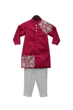 Load image into Gallery viewer, Boys Pink Embroidery Ajkan With Pant
