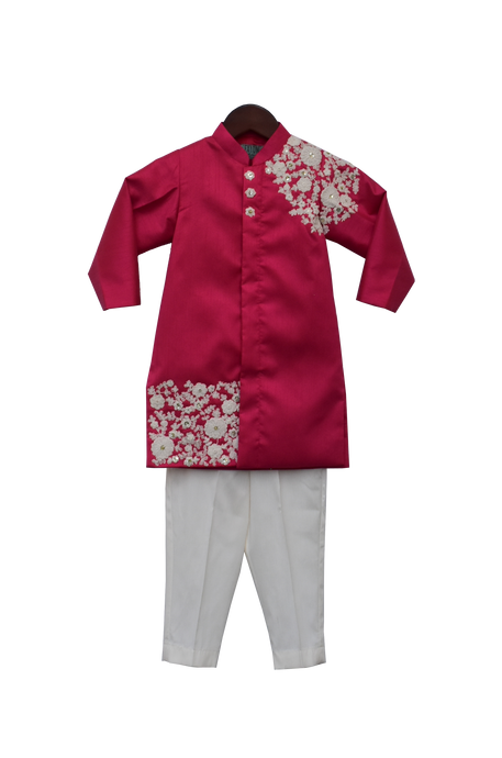Boys Pink Embroidery Ajkan With Pant