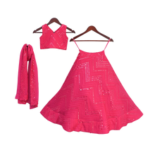 Load image into Gallery viewer, Girls Pink Embroidery Choli With Lehenga