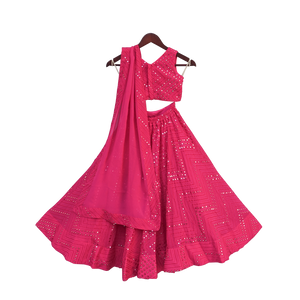 Girls Pink Embroidery Choli With Lehenga