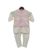 Load image into Gallery viewer, Boys Pink Embroidery Jacket With Offwhite Kurti And Churidar