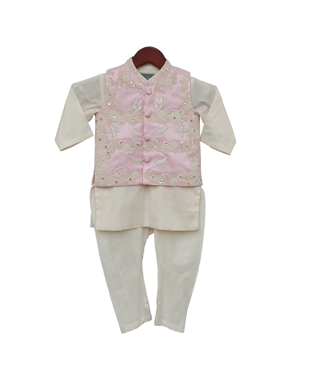 Boys Pink Embroidery Jacket With Offwhite Kurti And Churidar