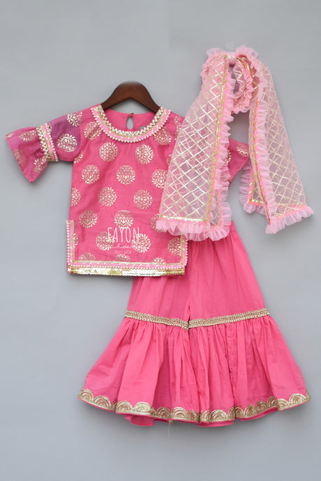Girls Pink Foil Print Kurti With Sharara