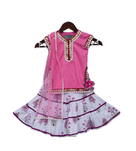 Load image into Gallery viewer, Girls Pink Kurti With Printed Sharara & Dupatta