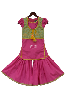 Girls Pink Kurti With Attached Jacket & Sharara