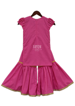 Load image into Gallery viewer, Girls Pink Kurti With Attached Jacket & Sharara